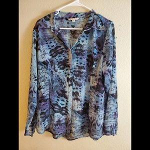 CAbi Blue Sheer Button Long Sleeve Boho Blouse